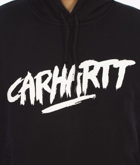 Carhartt-Hooded Painted Script Sweat Black/White