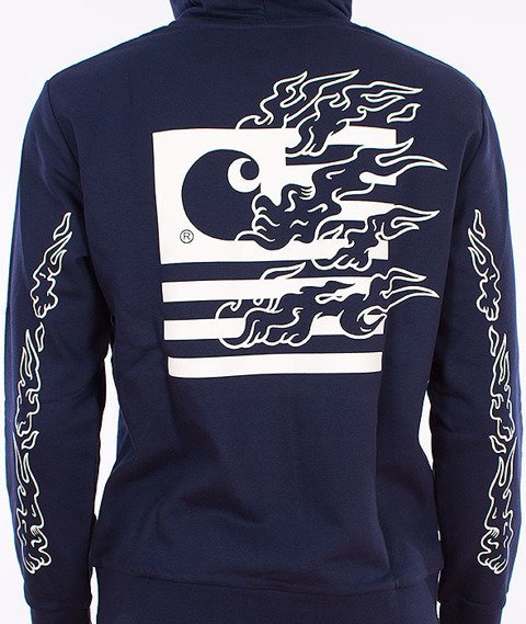 Carhartt-State Flames Bluza Z Kapturem Blue