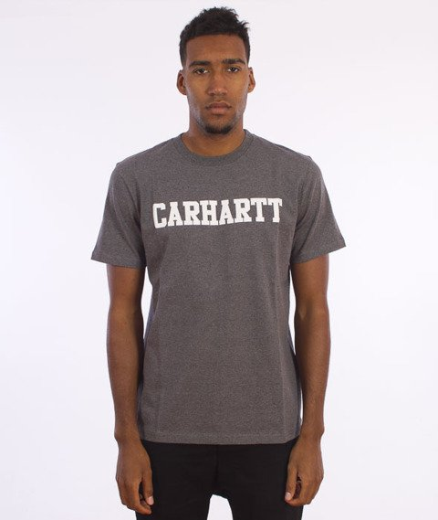 Carhartt WIP-S/S College T-Shirt Dark Grey Heather/White