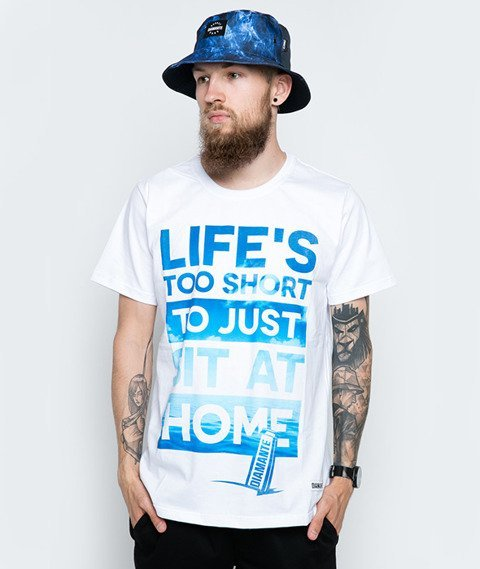 Diamante-Life's Too Short T-Shirt Biały