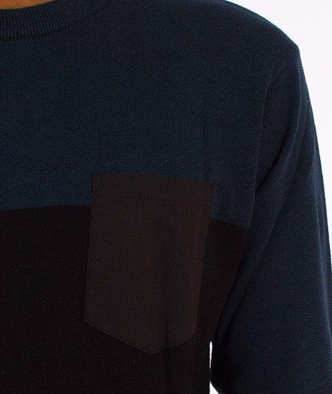 Iriedaily-BlockFlag Crew Knit Sweter Deep Lake
