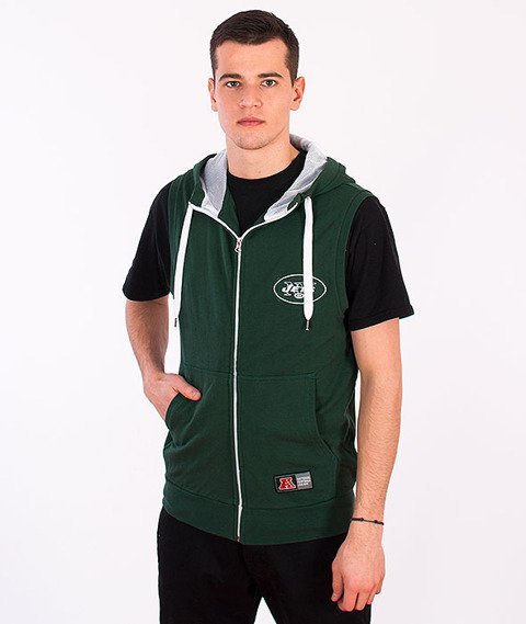Majestic-New York Jets Sleveless Zip Hoodie Green