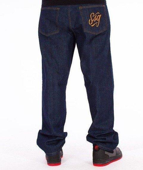 SmokeStory-SSG Tag Baggy Jeans Dark Blue