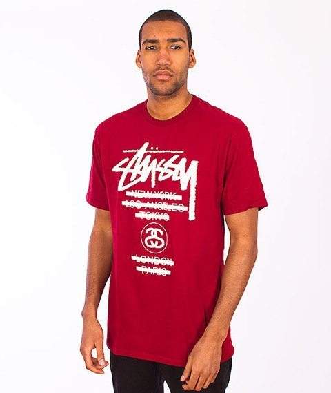 Stussy-WT Taped Tee Dark Red