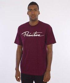 Primitive-Nuevo Script T-Shirt Bordowy