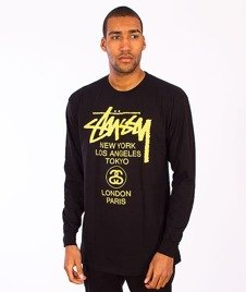 Stussy-World Tour Longsleeve Black/Yellow