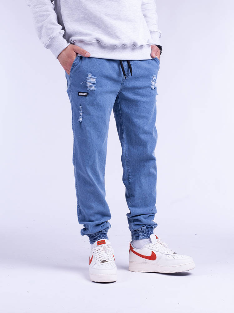 Diamante JOGGER 16 Ripped jasny Blue Jeans