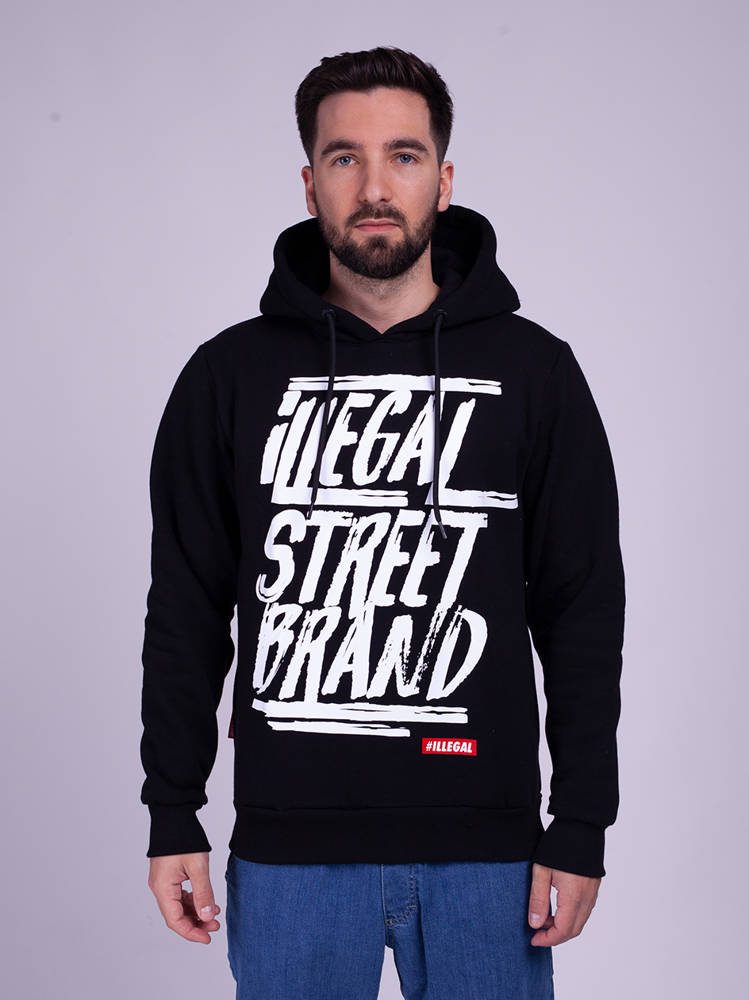 Illegal STREET BRAND Bluza z Kapturem Czarny