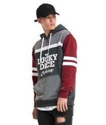Lucky Dice-College Hoody 7 Bluza Kaptur Szary/Grafitowy/Bordowy