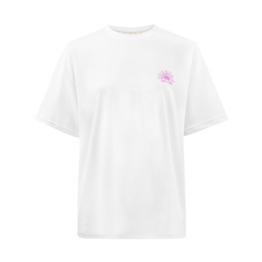 SSG Girls SUNSET T-Shirt Oversize Biały