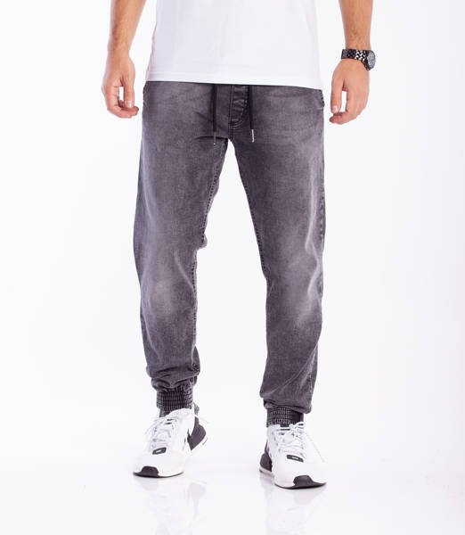 Smoke Story SKIN Jogger Slim Jeans Wycierane Black Light