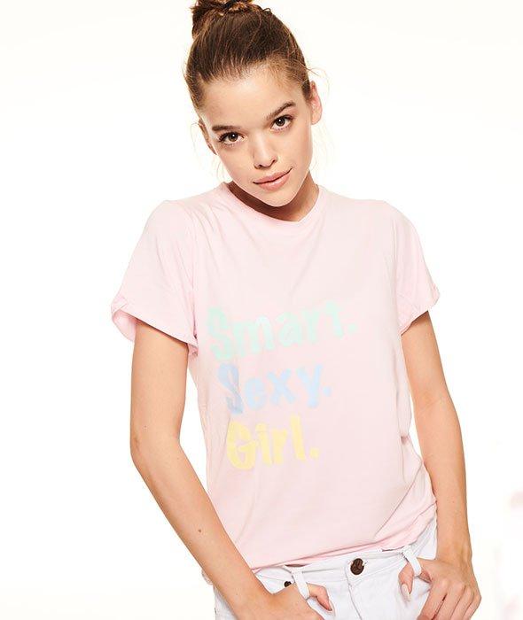 SmokeStory-Roll Up T-shirt Damski Róż