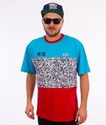 SmokeStory-Triple T-Shirt Turkusowy/Biały/Czerwony