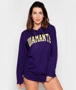 Diamante-College Light Hoodie Long Bluza Damska Kaptur Fioletowa
