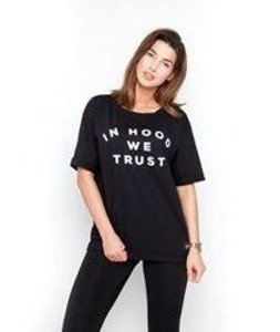 Diamante-In Hood We Trust Oversize T-shirt Damski Czarny