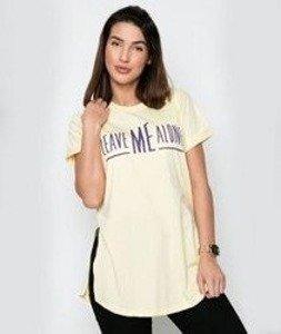 Diamante-Leave Me Alone T-shirt Damski Żółty