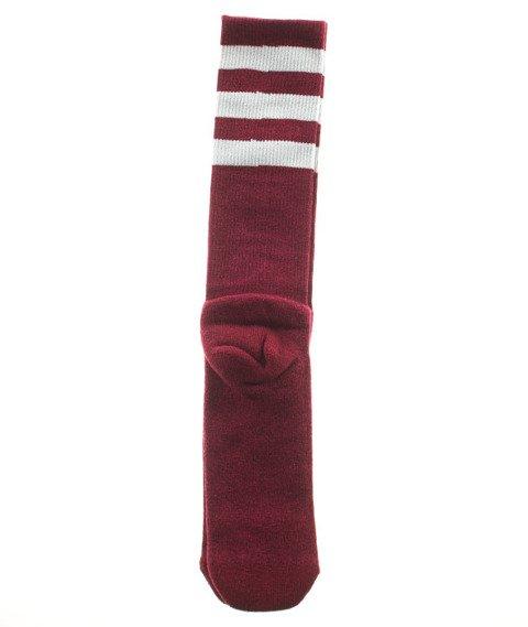 American Socks-Red Noise Mid High Skarpetki Bordowe