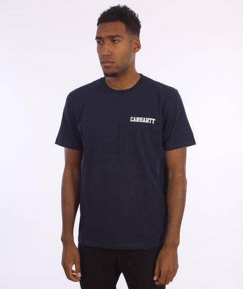Carhartt-College Script LT  T-Shirt Navy/White