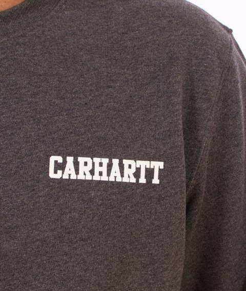 Carhartt-College Script Sweatshirt Dark Grey Heather White