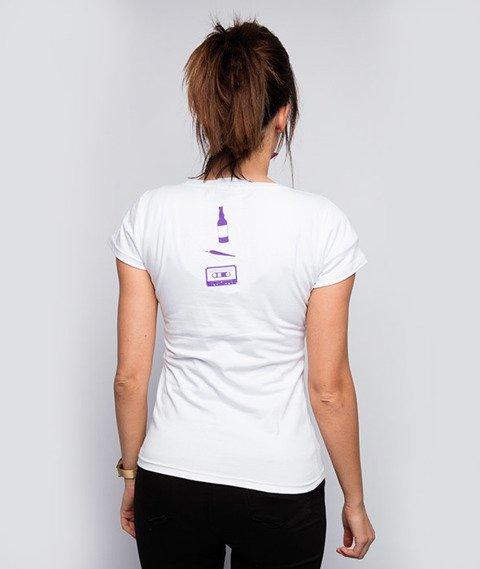 Diamante-Melanż Kolaż T-shirt Damski Biały