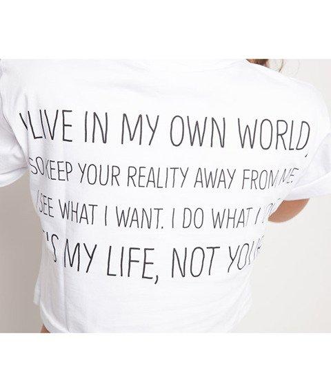 Diamante-My Life 2 Cropped T-shirt Damski Biały