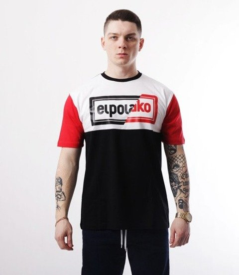 El Polako-Cut Color T-Shirt Czarno/Czerwony