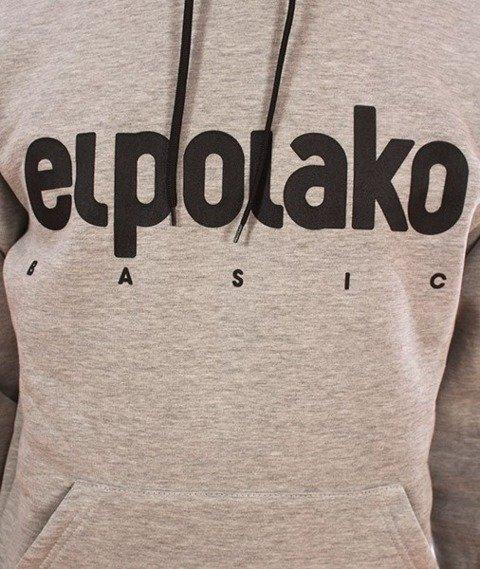 El Polako-Kangurka BASIC Logo Bluza Kaptur Szara