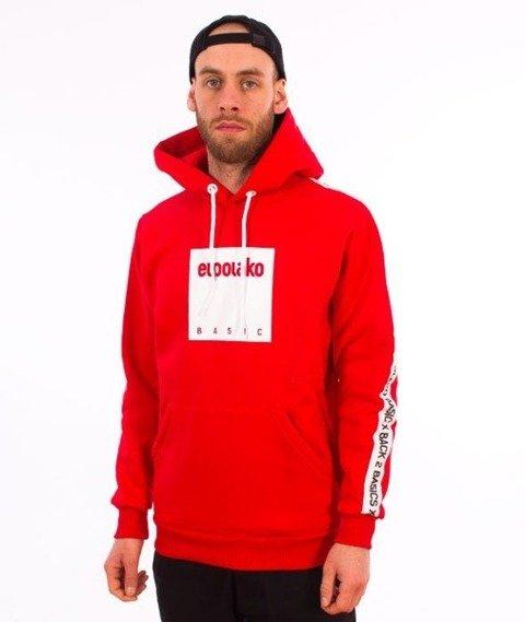 El Polako-Kangurka Box Style Bluza Kaptur Czerwony
