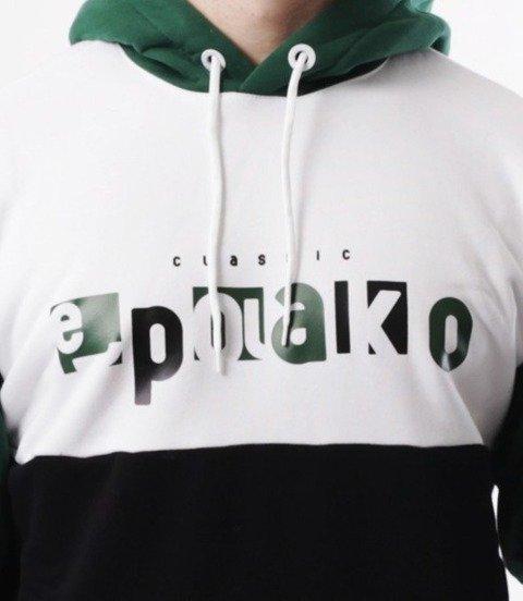 El Polako-Square Cut Bluza Kaptur Czarny/Zieleń