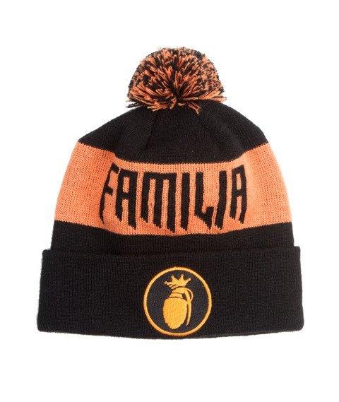 Familia Wear-Logo Czapka Zimowa Czarna/Pomarańczowa