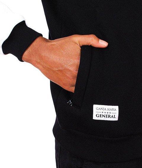 Ganja Mafia-General Leather Zip Bluza Czarna/Biała