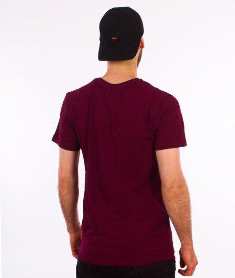 Hype-Glitch Crest T-Shirt Bordowy/Biały