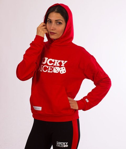 Lucky Dice-Logo Hoodie Bluza Damska Kaptur Czerwona
