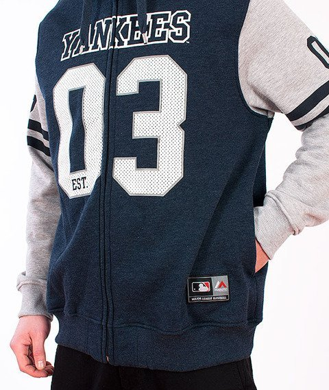 Majestic-New York Yankees Zip Hoodie Black/Grey
