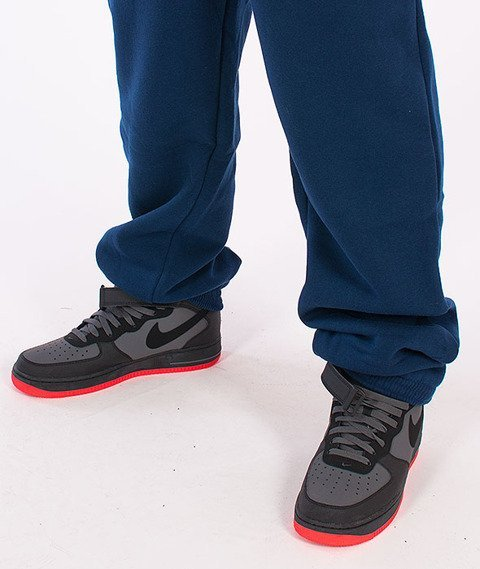 Mass-Base Regular Fit Spodnie Dresowe Granatowe/Czerwone