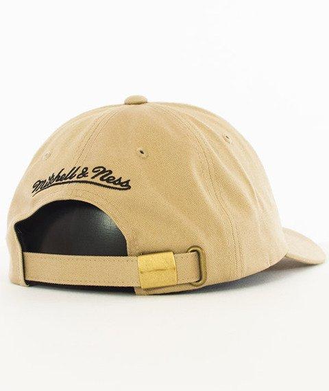 Mitchell & Ness-New York Knicks Rock Font Dad Hat Snapback Khaki