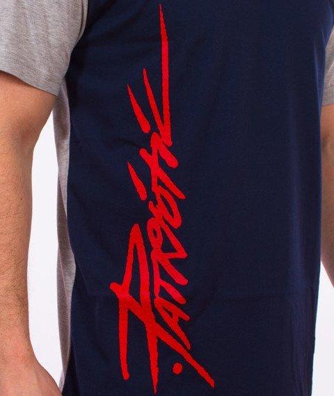 Patriotic-Tag Line T-shirt Szary/Granatowy