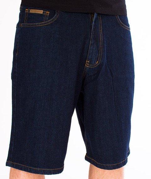Patriotic-Tag Spodnie Shorty Jeansowe Ciemny Niebieski