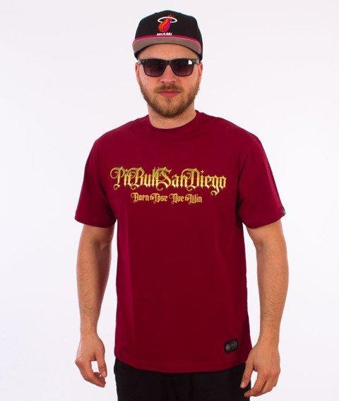 Pit Bull West Coast-Ace Of Spades T-Shirt Bordowy