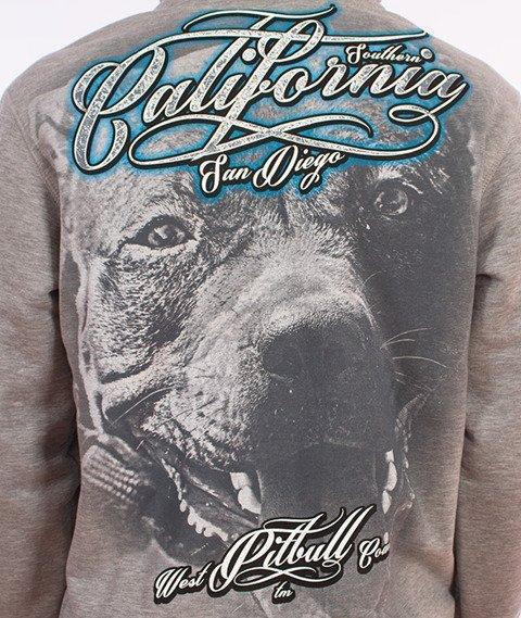 Pit Bull West Coast-California Dog Hoodie Bluza Kaptur Szara