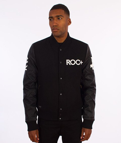 RocaWear-ROC+ Leather Sleeves Jacket Kurtka Bomber Czarna