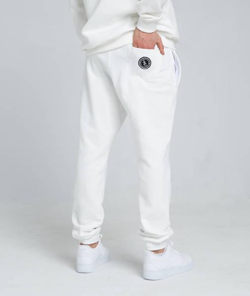 Smoke Story STRAIGHT Spodnie Dresowe Slim Biały Śmietankowy