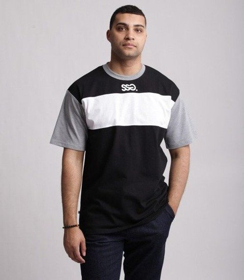 SmokeStory-Color White Belt T-Shirt Szaro Czarny
