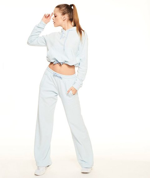 SmokeStory-Frotte Loose Pants Spodnie Dresowe Damskie Błękit