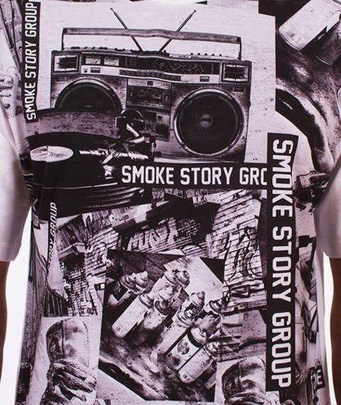 SmokeStory-Full Music T-Shirt Biały/Multikolor