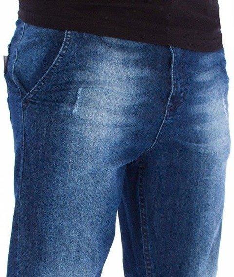 SmokeStory-Jeans Straight Fit Guzik Spodnie Dark Cieniowane