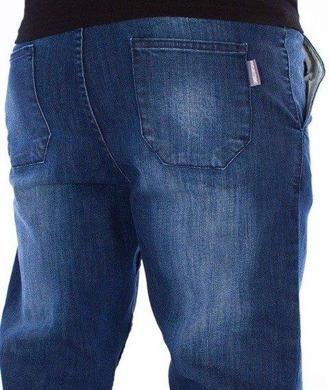 SmokeStory-Jeans Stretch Skinny z Gumą Spodnie Dark Przecierane