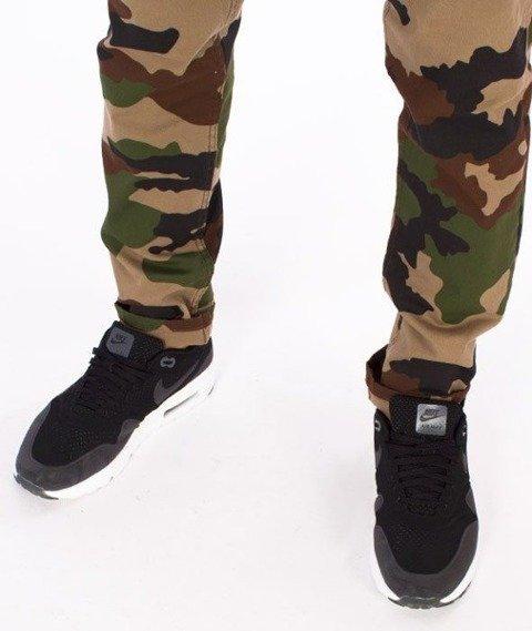 SmokeStory-Jeans Stretch Straight Fit Guzik Spodnie Moro