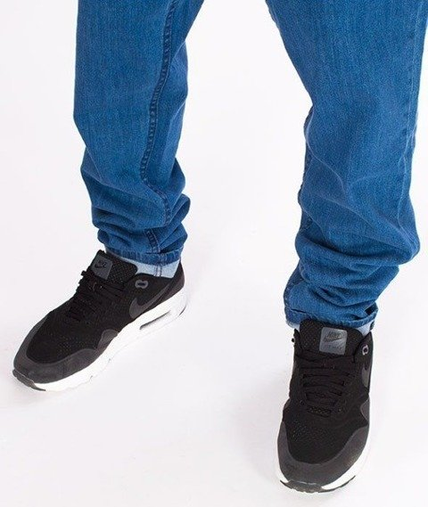 SmokeStory-Jeans Stretch Straight Fit z Gumą Spodnie Light Blue