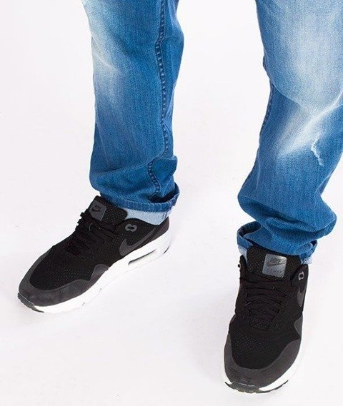 SmokeStory-Jeansy Stretch Straight Fit Premium Guzik Spodnie Light z Przetarciami